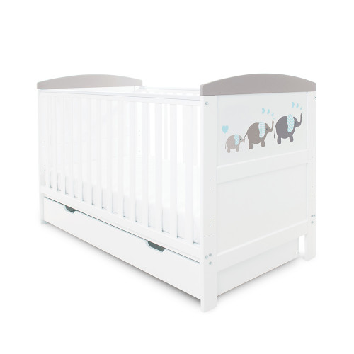 Ickle Bubba Coleby Style Cot Bed & Under Drawer - Elephant Love Grey