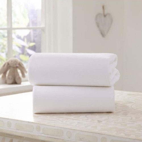 Clair De Lune Fitted Bedside Crib Sheets - White