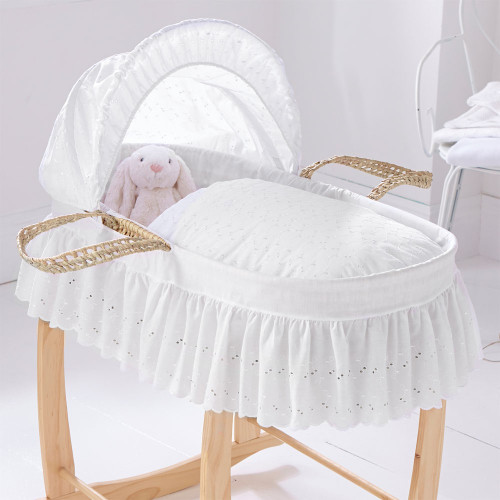 Clair De Lune Broderie Anglaise Palm Moses Basket - White