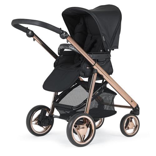 Bebecar V-Pack + Lie Flat Car Seat, LA3 Kit & Raincover - Rose Black (056)