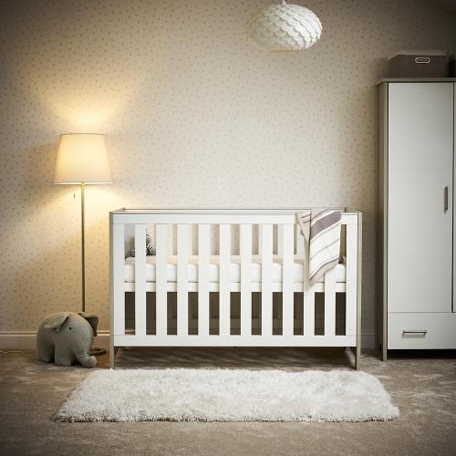 Obaby Nika Cot Bed - Grey Wash & White