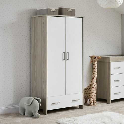 Obaby Nika Double Wardrobe - Grey Wash & White