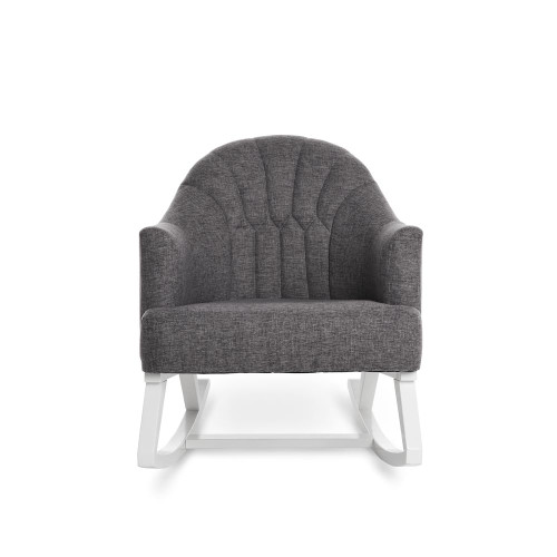Obaby Round Back Rocking Chair - White with Grey Cushion (front)