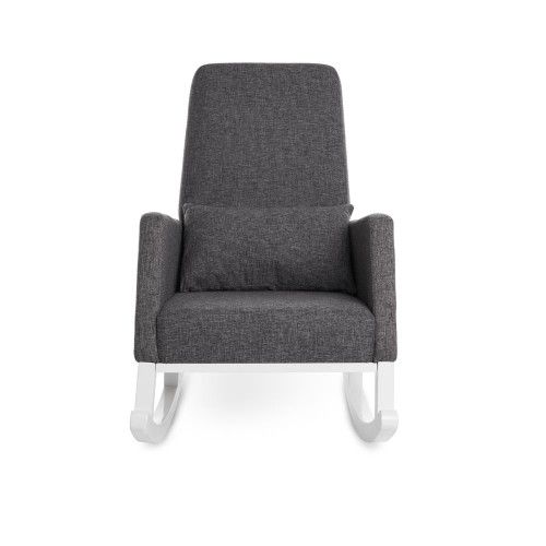 Obaby High Back Rocking Chair - White with Grey Cushion (front)