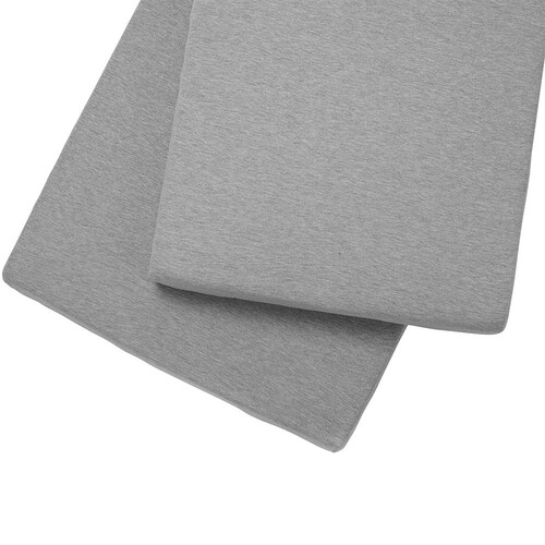 Clair De Lune 2 Pack Fitted Pram/Crib Sheets - Grey Marl
