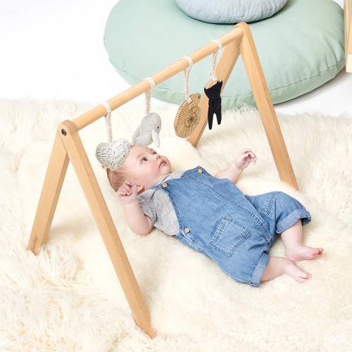 Little Green Sheep Wooden Baby Play Gym & Charms Set - Ocean Whale