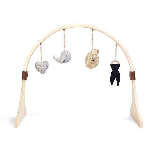 Little Green Sheep Curved Wooden Baby Play Gym & Charms Set - Ocean Whale