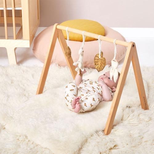 Little Green Sheep Wooden Baby Play Gym & Charms Set - Safari Giraffe