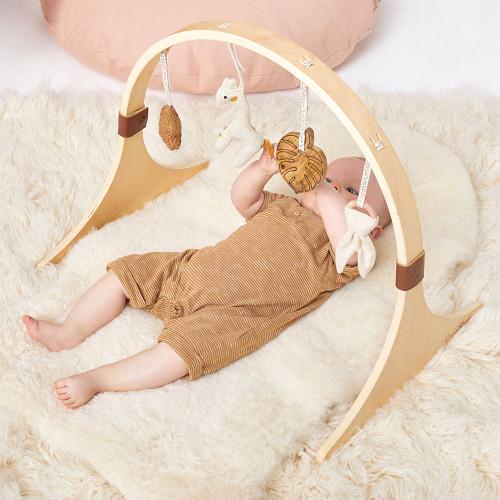 Little Green Sheep Curved Wooden Baby Play Gym & Charms Set - Safari Giraffe