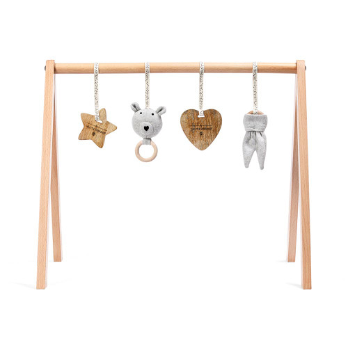 Little Green Sheep Wooden Baby Play Gym & Charms Set - Bear Love
