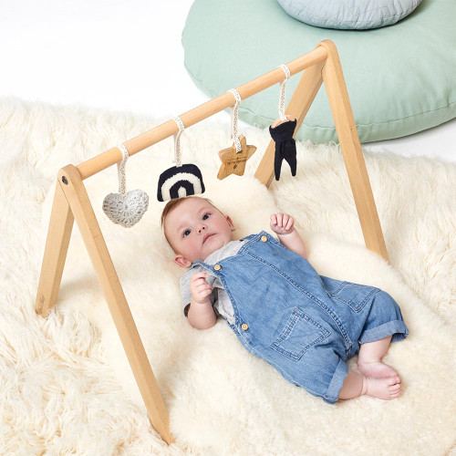 Little Green Sheep Wooden Baby Play Gym & Charms Set - Rainbow Midnight