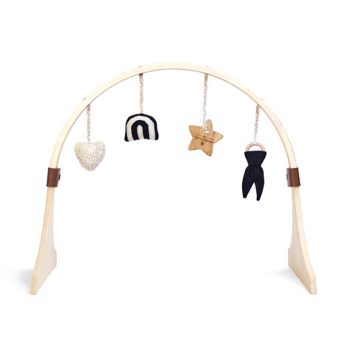 Little Green Sheep Curved Wooden Baby Play Gym & Charms Set - Rainbow Midnight