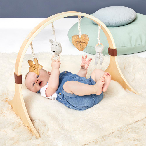 Little Green Sheep Curved Wooden Baby Play Gym & Charms Set - Bear Love
