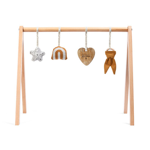 Little Green Sheep Wooden Baby Play Gym & Charms Set - Rainbow Honey