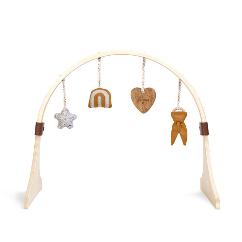 Little Green Sheep Curved Wooden Baby Play Gym & Charms Set - Rainbow Honey