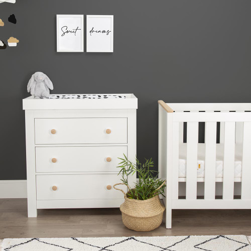 CuddleCo Aylesbury 2 Piece Room Set - Satin White / Ash