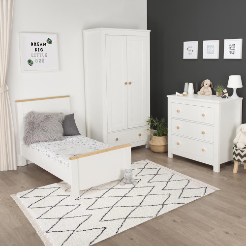 CuddleCo Aylesbury 3 Piece Room Set - Satin White / Ash