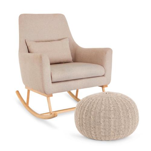 Tutti Bambini Oscar Rocking Chair & Pouffe Set - Stone