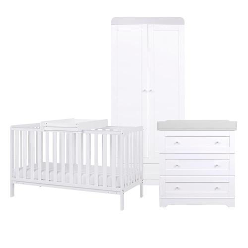 Tutti Bambini Malmo 3 Piece Room Set - White / Dove Grey