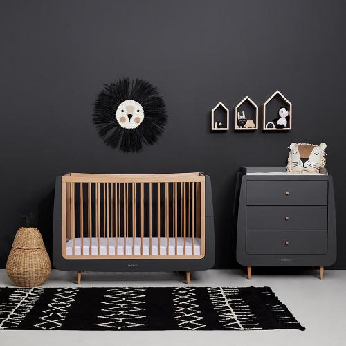 SnuzKot Skandi Cot Bed - Slate Natural - room lifestyle