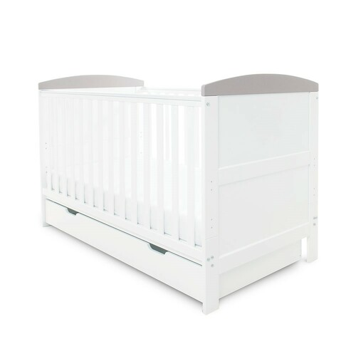 Ickle Bubba Coleby Cot Bed & Under Drawer - White with Grey Trim