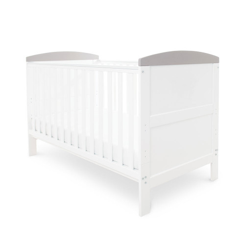Ickle Bubba Coleby Cot Bed - White with Grey Trim