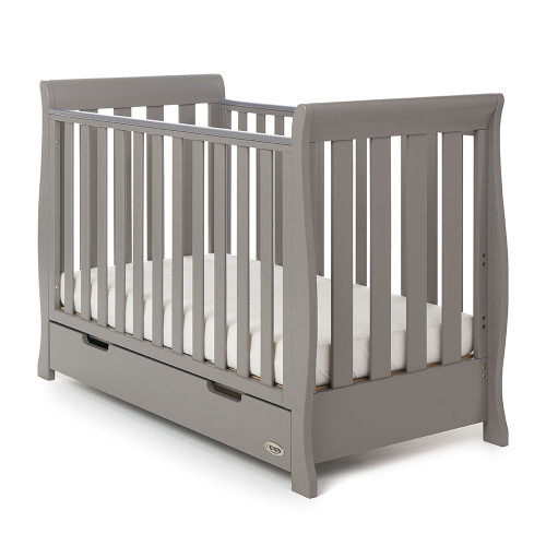 Obaby Stamford Sleigh Mini Cot Bed - Taupe Grey