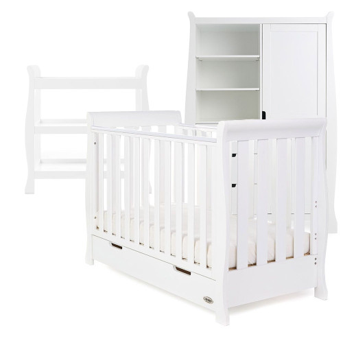 Obaby Stamford Sleigh Mini Cot Bed + Open Changing Unit & Double Wardrobe - White