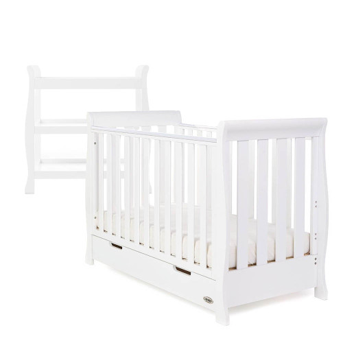 Obaby Stamford Sleigh Mini Cot Bed + Open Changing Unit - White
