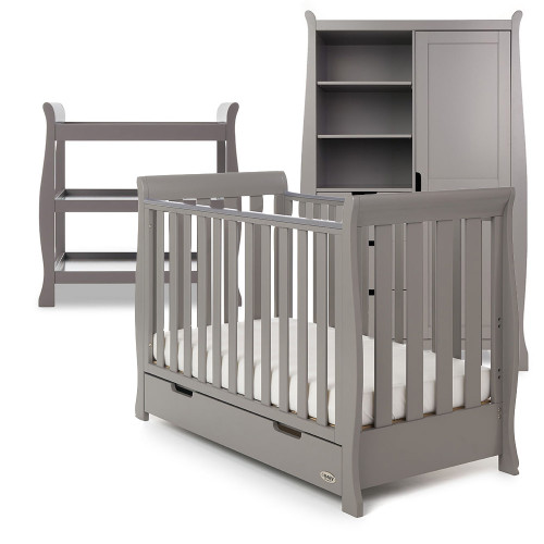 Obaby Stamford Sleigh Mini Cot Bed + Open Changing Unit & Double Wardrobe - Taupe Grey