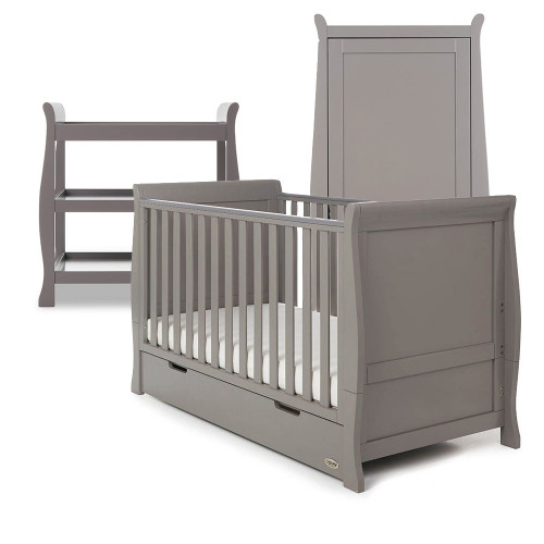 Obaby Stamford Classic Sleigh Cot Bed + Open Changing Unit & Single Wardrobe - Taupe Grey