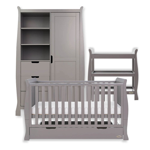 Obaby Stamford Classic Sleigh Cot Bed + Open Changing Unit & Double Wardrobe - Taupe Grey