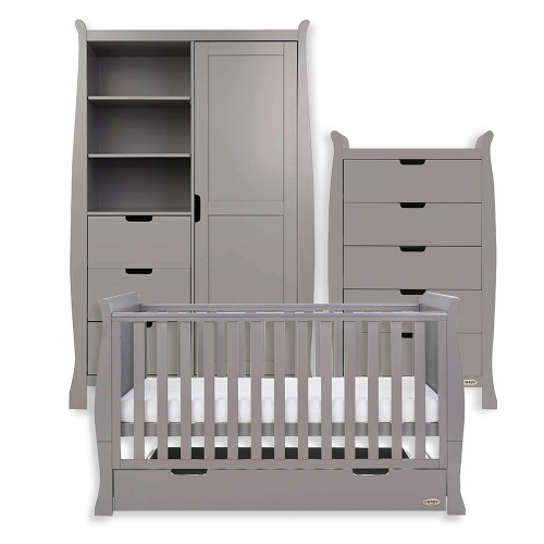 Obaby Stamford Classic Sleigh Cot Bed + Tall Chest & Double Wardrobe - Taupe Grey