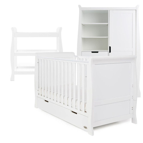 Obaby Stamford Classic Sleigh Cot Bed + Open Changing Unit & Double Wardrobe - White