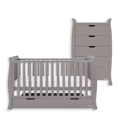 Obaby Stamford Classic Sleigh Cot Bed + Tall Chest - Taupe Grey