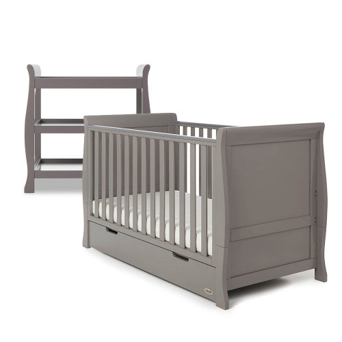 Obaby Stamford Classic Sleigh Cot Bed + Open Changing Unit - Taupe Grey