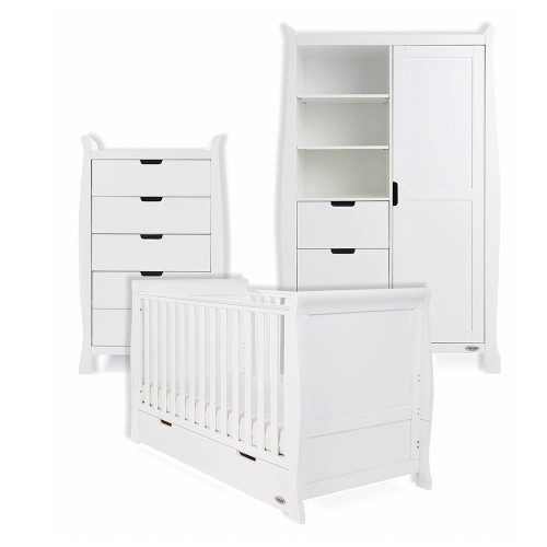 Obaby Stamford Classic Sleigh Cot Bed + Tall Chest & Double Wardrobe - White