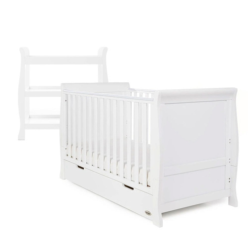 Obaby Stamford Classic Sleigh Cot Bed + Open Changing Unit - White