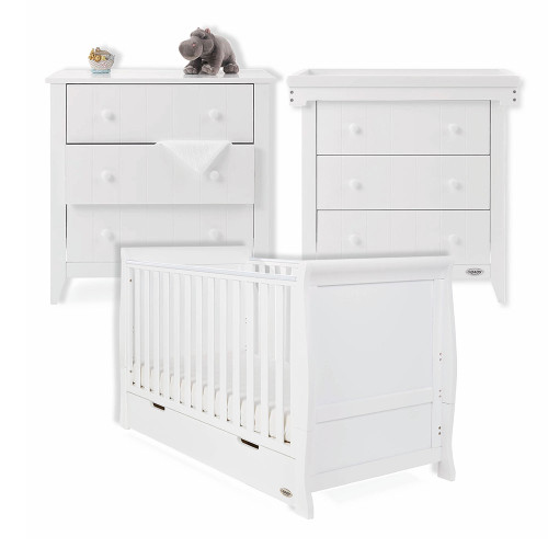 Obaby Stamford Classic Sleigh Cot Bed + Belton Multi Top Changer & Chest - White