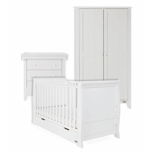 Obaby Stamford Classic Cot Bed + Belton Multi Top Changer, Chest & Double Wardrobe - White