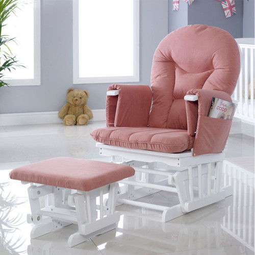 Ickle Bubba Alford Glider Chair and Stool - White/Blush Pink