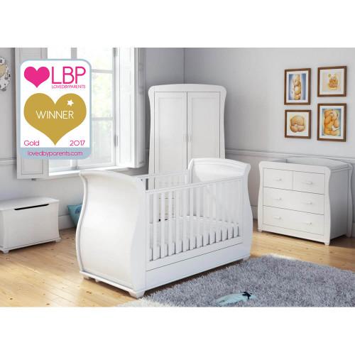 Babymore Bel Sleigh 5 Piece Room Set - White
