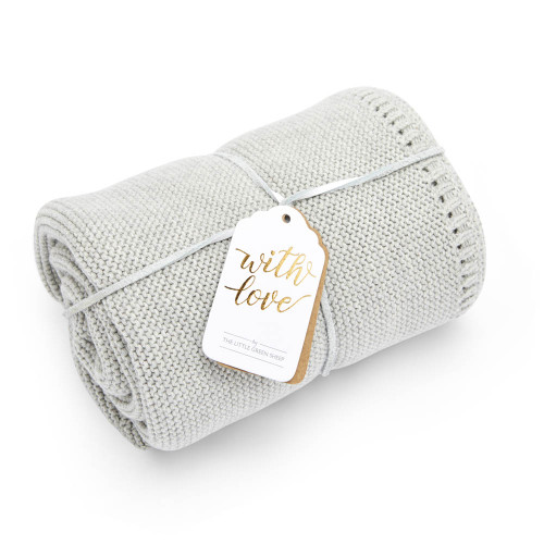 Little Green Sheep Organic Knitted Cellular Baby Blanket - Dove