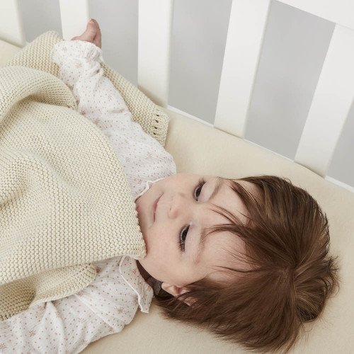 Little Green Sheep Organic Knitted Cellular Baby Blanket - Linen