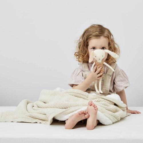 Little Green Sheep Organic Knitted Fleece Baby Blanket - Linen