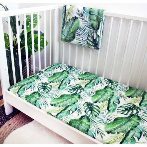Mama Shack Muslin Fitted Cot Sheet - Banana Leaf