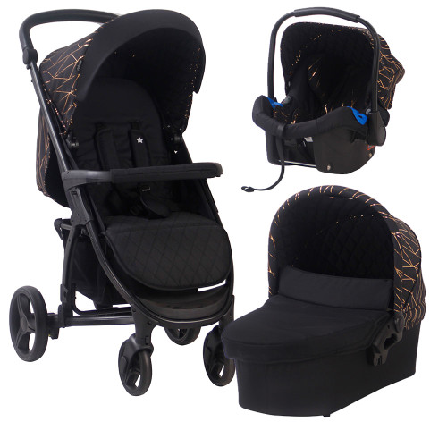 My Babiie MB200+ Travel System - Black & Rose Gold