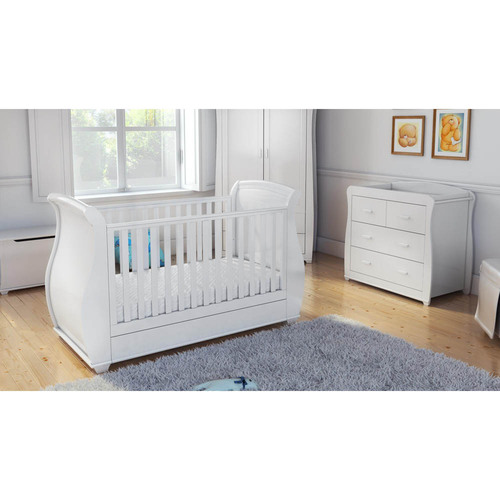 Babymore Bel Sleigh 2 Piece Room Set - White