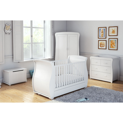 Babymore Bel Sleigh 4 Piece Room Set - White