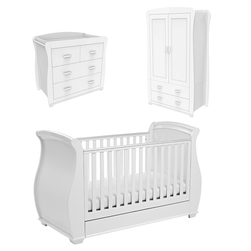 Babymore Bel Sleigh 3 Piece Room Set - White